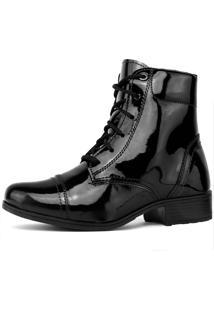 Bota Touro Boots Brigthseries Verniz Preto - Preto - Feminino - Dafiti