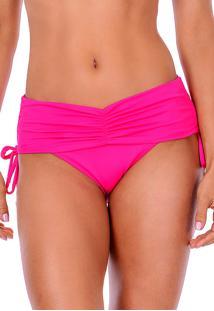 Calcinha Summer Soul Cós Alto Com Franzido E Amarração Pink