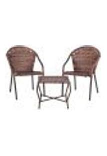 Conjunto Mesa Baixa E 2 Cadeiras Para Área Edicula Jardim Biquini Ferro E Fibra Argila