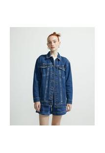 Jaqueta Alongada Jeans Com Bolsos E Costuras Frontais | Blue Steel | Azul | M