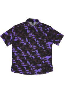 Camisa Botão Alkary Camuflada Roxa