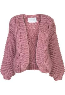 I Love Mr Mittens Contrast Knit Open Front Cardigan - Rosa