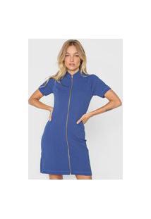 Vestido Lança Perfume Curto Zíper Azul