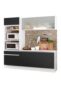 Cozinha Compacta Madesa Topazio Com Balcáo E Tampo Preto