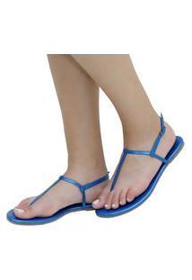 Sandália Rasteira Mercedita Shoes Napa Metalizada Azul Ultra Conforto Anatômica
