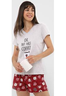 Short-Doll Pzama Coffe Cinza/Vermelho - Cinza - Feminino - Algodã£O - Dafiti