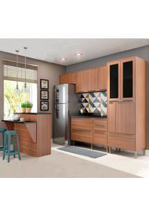 Cozinha Compacta Com Tampo 12 Portas 5463 Nogueira - Multimóveis