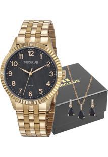Kit Relógio Seculus Feminino Com Colar E Brincos 77047Lpsvds1K1