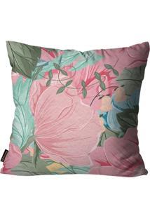 Capa Para Almofada Premium Peluciada Mdecore Floral Colorido 45X45Cm Rosa