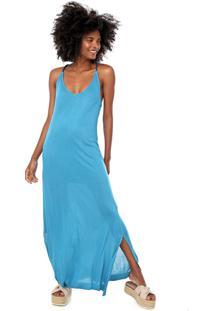 Vestido Cantão Longo Liso Azul