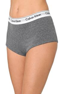 Calcinha Calvin Klein Underwear Boyshort Logo Cinza