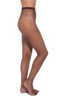 Meia Arrastão Brilhos Stiff Legwear - Marrom