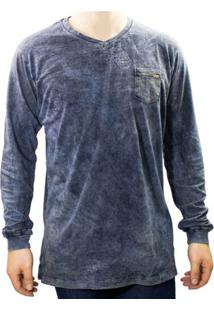 Camiseta Masculina Gola V Dixie 11.23.0001 - Masculino-Azul