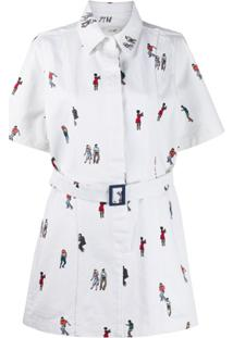 Kirin Chemise Mangas Curtas Com Estampa - Branco