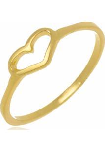 Anel Coração Vazado Folheado A Ouro 18K - Kanui