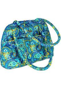 Bolsa Handbag Ana Viegas Tecido Ombro Zíper Espaçosa Feminina - Feminino-Azul Claro