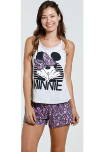 Short Doll Feminino Estampa Minnie Flores Disney