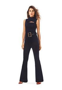 Macacao Longo Pantalona Com Cinto Jeans