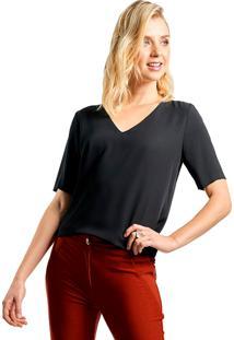 Blusa Mx Fashion Crepe Constance Preto