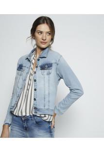 Jaqueta Jeans Com Recortes- Azul Claro- Leelee
