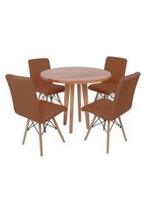 Conjunto Mesa De Jantar Em Madeira 90Cm Com Base Vértice + 4 Cadeiras Gomos - Marrom