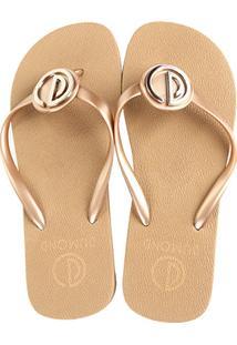 66042264a ... Chinelo Dumond Dedo Logo Metal Feminino - Feminino-Dourado