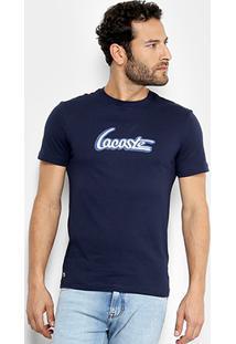 Camiseta Lacoste Estampada Masculina - Masculino-Marinho+Branco