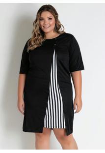 Vestido Curto Preto Com Recorte Plus Size