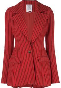 Rosie Assoulin Blazer Slim Listrado - Vermelho