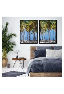 Quadro 65X90Cm Coqueiros Maragori Praia Alagoas Brasil Moldura Preta Sem Vidro