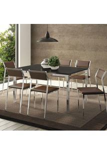 Conjunto Mesa 1526 Preta Cromada Com 6 Cadeiras 1709 Cacau Carraro
