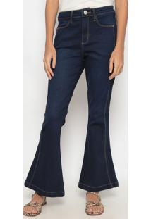 Jeans Flare Com Pespontos- Azul Escuro- Heringhering
