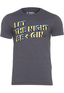 Camiseta Masculina Let The Night Be - Cinza