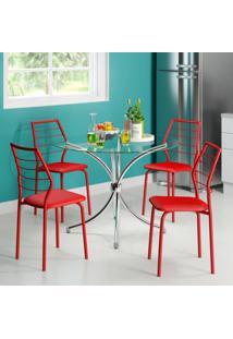 Conjunto De Mesa Redondo 375 Vidro Incolor Com 4 Cadeiras 1716 Casual Vermelho