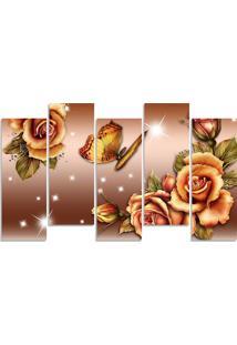 Quadro Decorativo Flor Bege Borboleta - Multicolorido - Dafiti