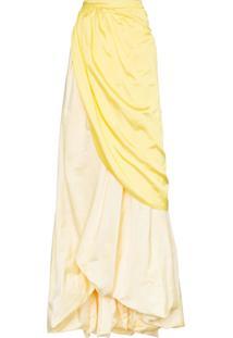 Rosie Assoulin Saia De Seda Longa Com Fenda - Amarelo