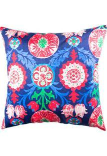Capa De Almofada Floral- Azul Escuro & Vermelha- 42Xstm Home
