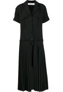 Victoria Victoria Beckham Pleated Skirt Shirt Dress - Preto