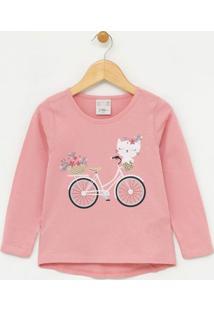 Blusa Infantil Estampa Gatinha De Bicicleta - Tam 1 A 4 Anos