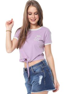 Camiseta Cropped Hang Loose Lines Lilás
