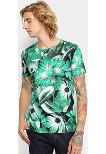 Camiseta Triton Masculino Floral Masculina - Masculino-Verde