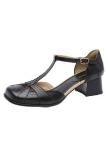 Sapato Retro Malbork Em Couro Preto Bico Quadrado 3161 Preto