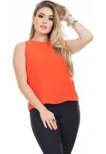 Blusa Clara Arruda Detalhe Costa 20614 Feminina - Feminino-Coral