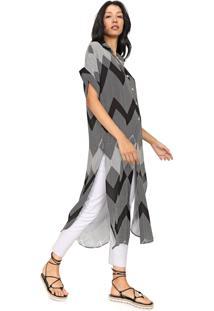 Vestido Dress To Midi Túnica Zig Zag Preto/Branco