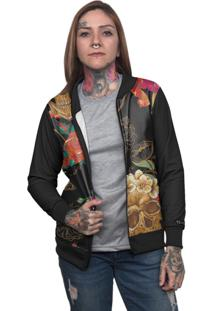 Jaqueta Bomber Chess Clothing Floral Colorido