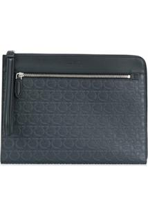 Salvatore Ferragamo Gancini-Embossed Clutch Bag - Azul