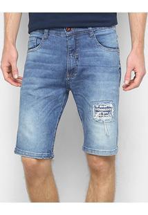 Bermuda Jeans Ecko Estonada Masculina - Masculino-Azul