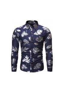 Camisa Masculina Florida Leaf - Navy