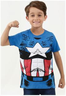 Camiseta Infantil Estampa Capitão América Manga Curta Marvel