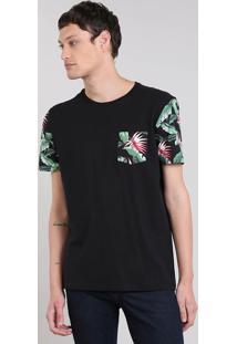 Camiseta Masculina Com Bolso E Mangas Curtas Estampados Gola Careca Preta